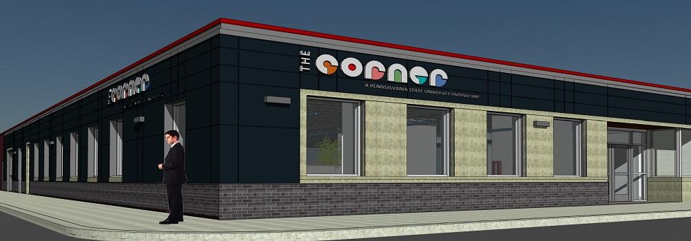 Architectural rendering of The Corner entrepreneurial center