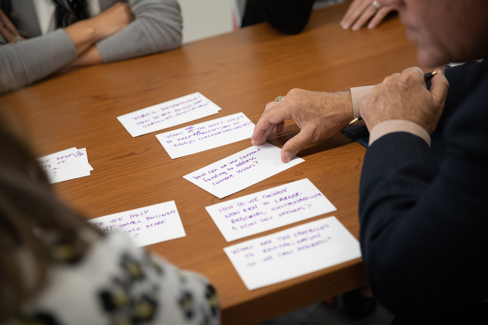 Index cards on table during reNew Kensington Community Workshop