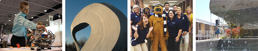 Collage of 4 photos of students and campus landmarks