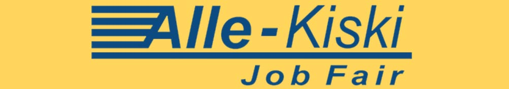 navy blue Alle-Kiski Job Fair logo on a yellow background