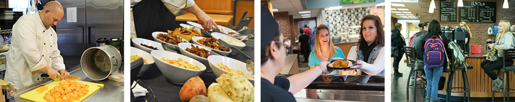 four photos of the on-campus dining locations