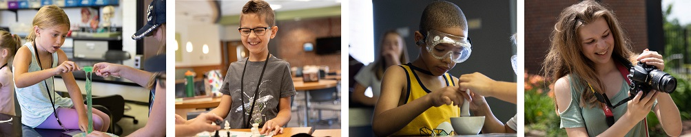 Four images of kids in college camps