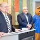 Dr. Kevin Snider, Chancellor, Penn State New Kensington (left), Thomas Guzzo, Mayor, City of New Kensington, and the Nittany Lion mascot
