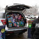 Police cruiser filled with gifts