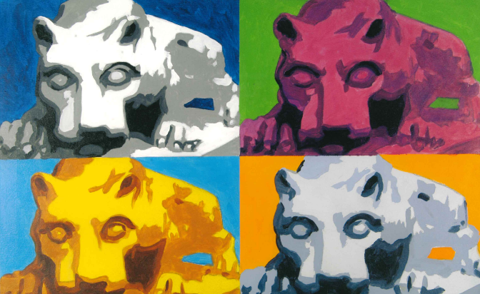 painting of a collage of 4 nittany lion shrines