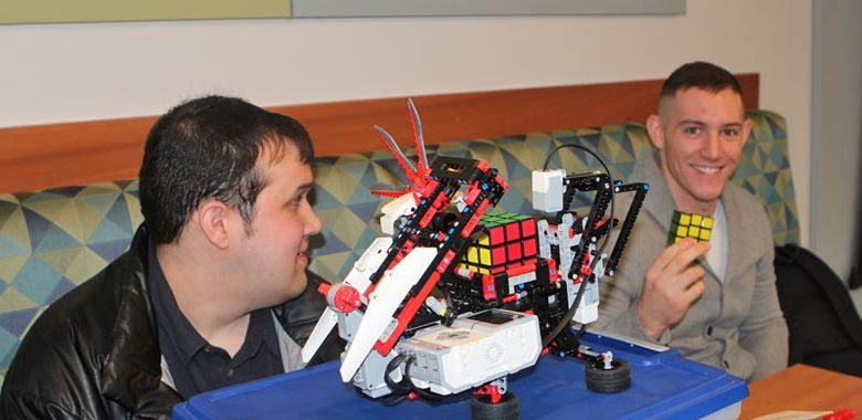 Sean Davis, Dylan McAnallen and the Rubik's Cube-solving robot