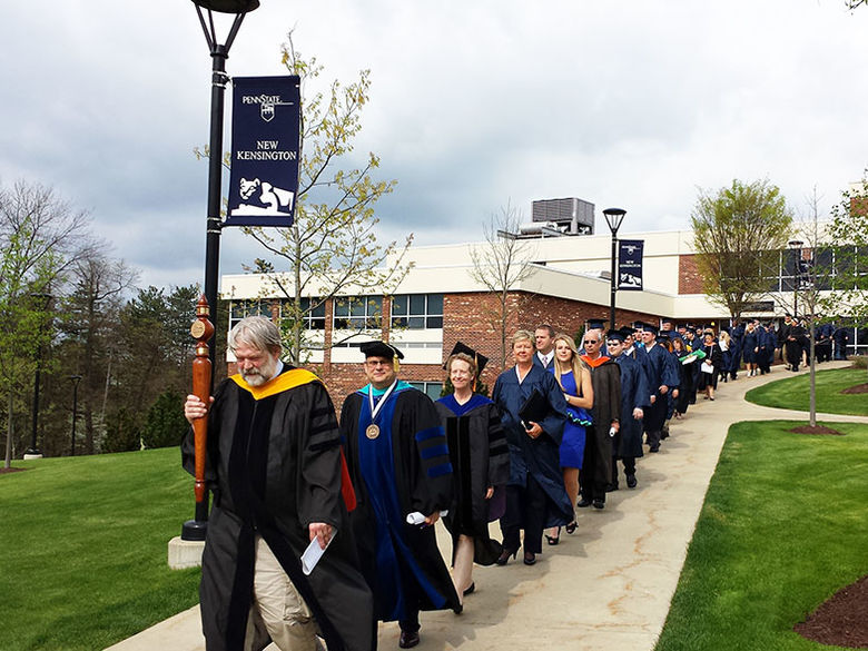 Faculty leading the procession at commencement