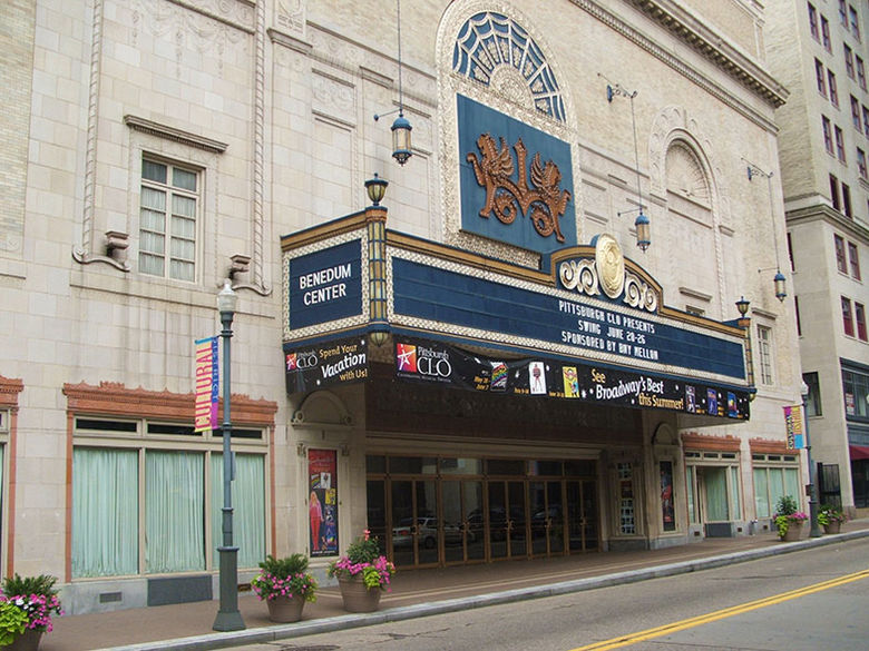The entrance to the Benedum Center as viewed from the street