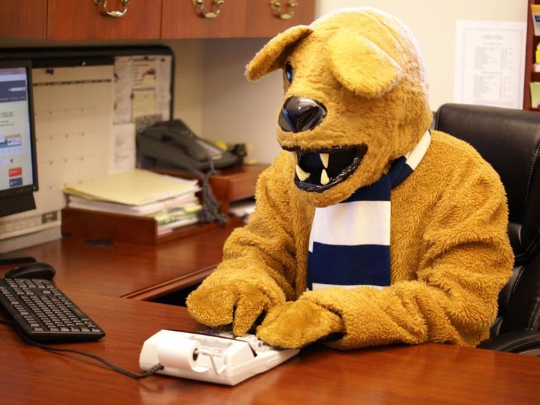 the Nittany Lion mascot using a calculator