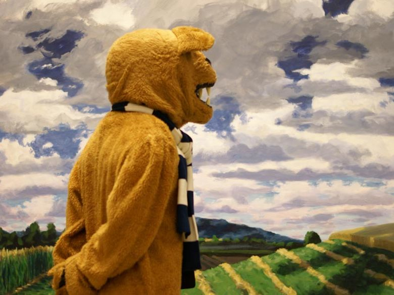 The Penn State Lion checking out the Art Gallery.