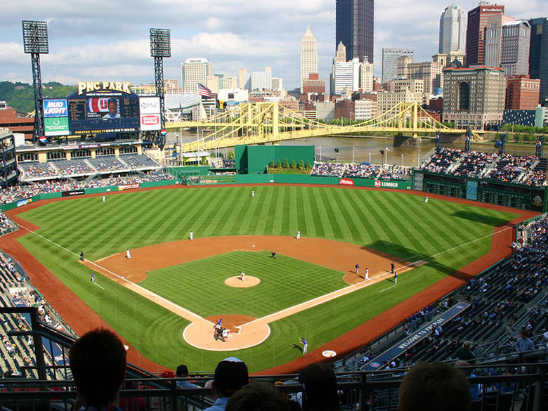 A view of PNC Park with the city skyline in the background