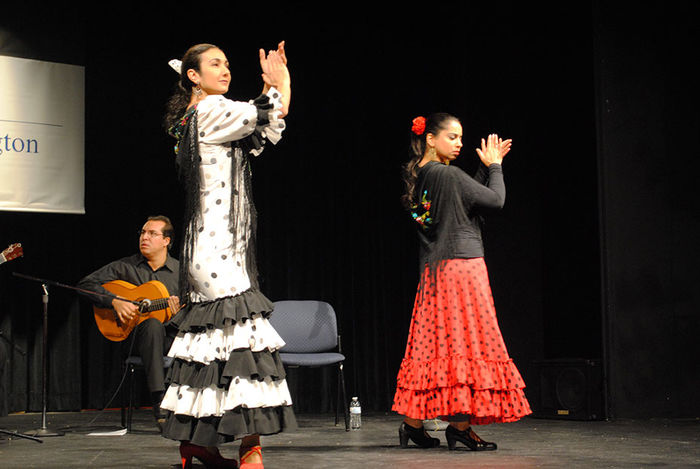 Two Flamenco dancers on stage