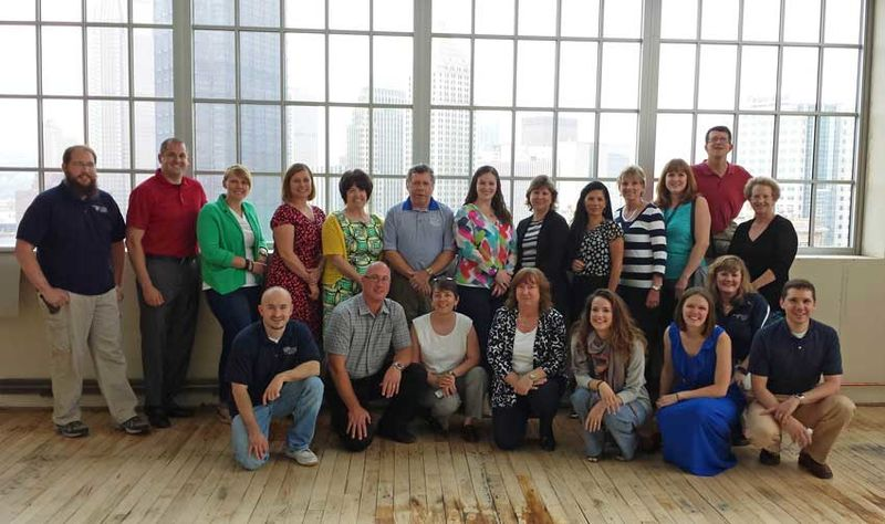 Group photo of PSNK staff at retreat downtown Pittsburgh