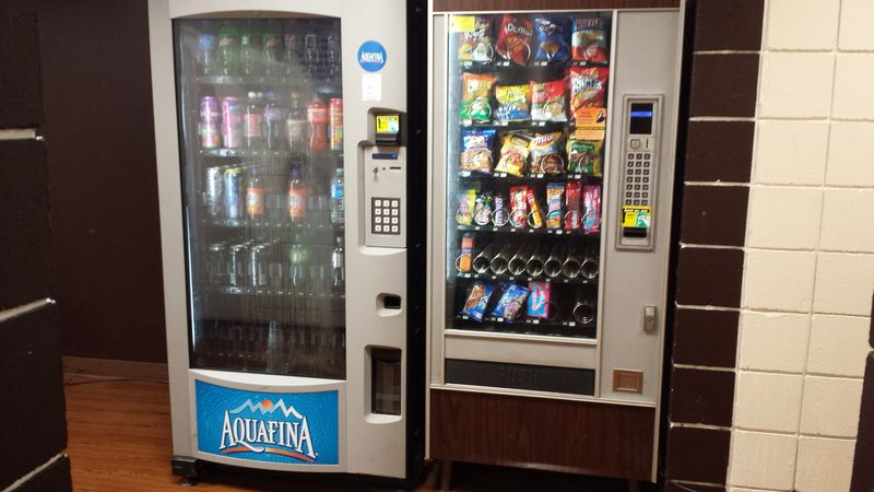 Beverage and snack vending machines are available for convenience.