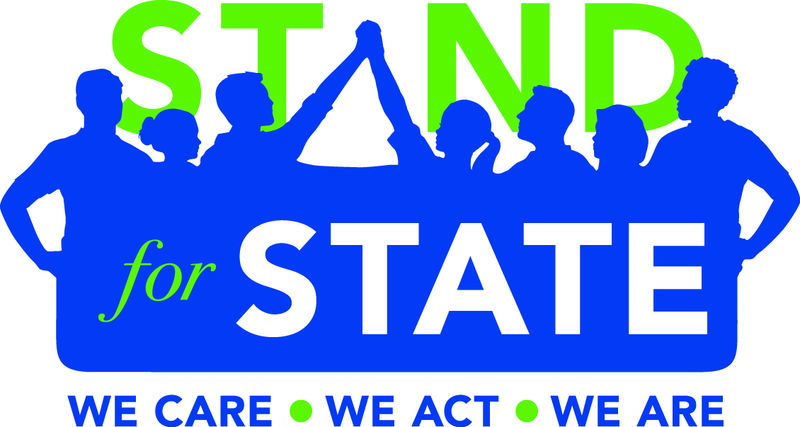 The Stand for State logo in blue and green