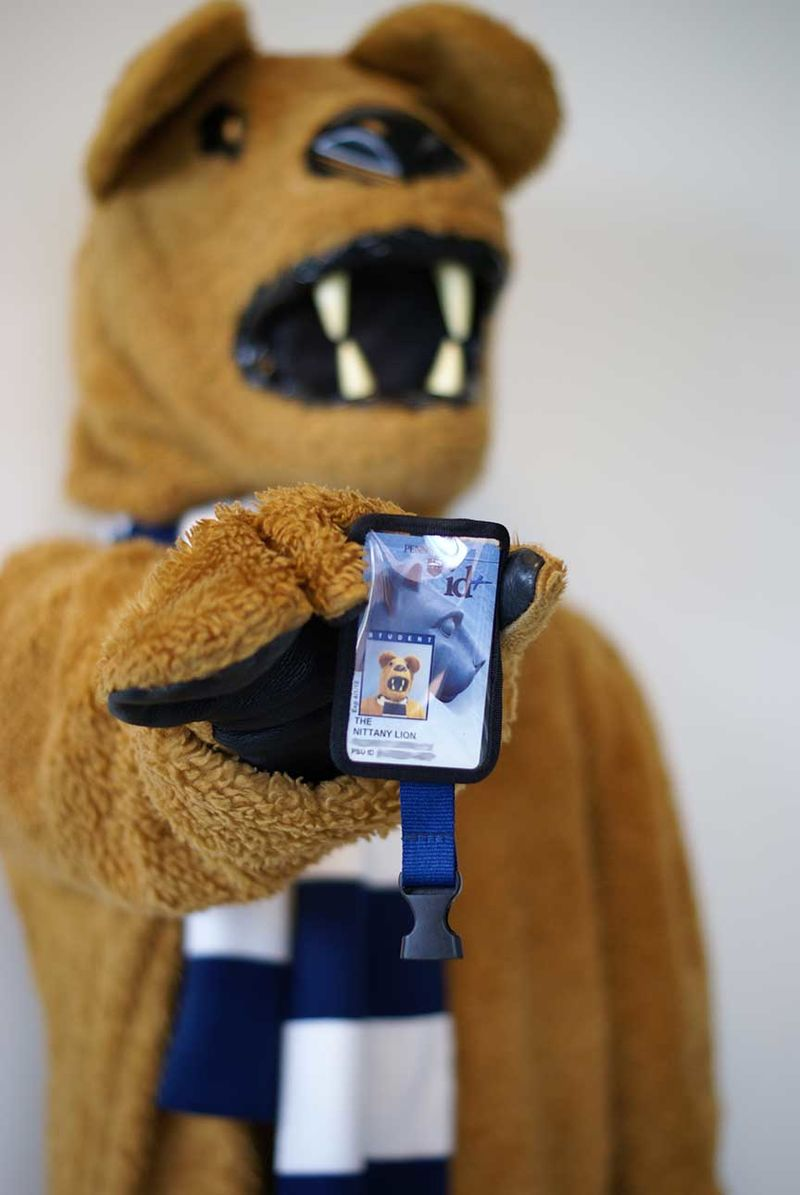 Nittany Lion mascot showing its id+ card