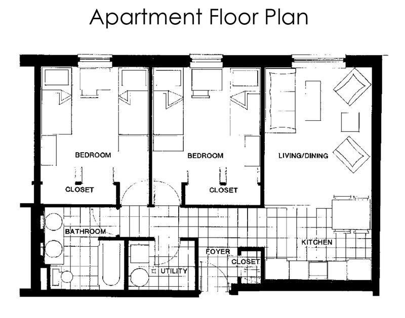 An apartment floor plan that shows two bedrooms, a living room, kitchen, bathroom, utility room, and foyer.