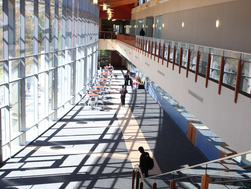 View of the first floor lobby of the Regional Learning Alliance, taken from the second floor