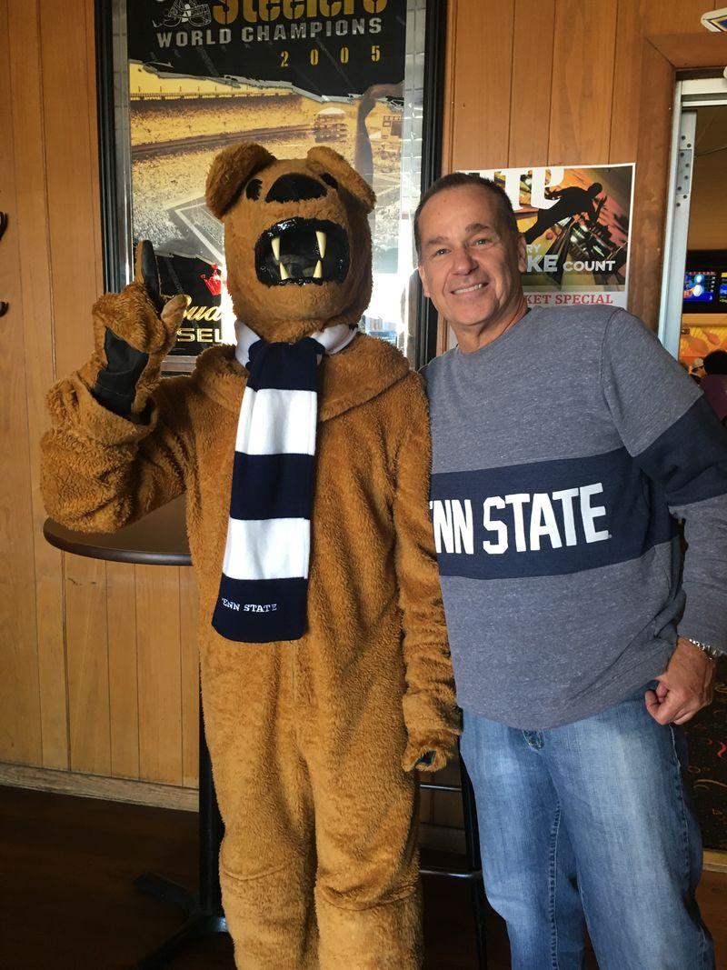 John Spadaro with Nittany Lion