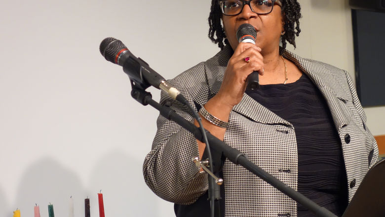 Diane Hightower makes remarks at Unity Dinner celebration