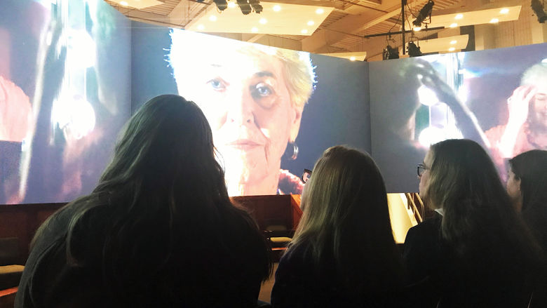 "Students watch ""FaceAge"" multimedia exhibit at Penn State New Kensington"