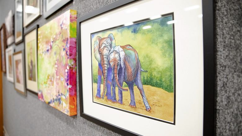 Painting of two elephants
