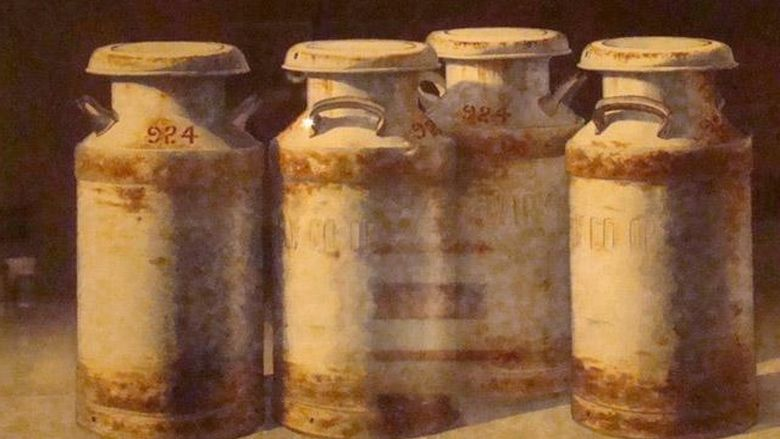 Watercolor painting of milk cans by J.D. Titzel