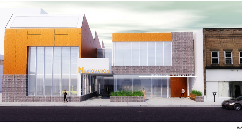 Rendering of digital lab building exterior