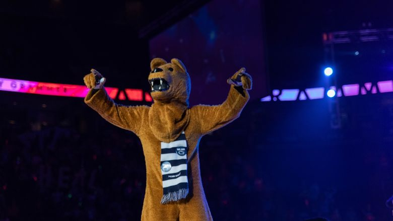 Nittany Lion mascot on a stage
