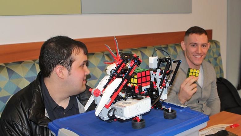 Sean Davis, Dylan McAnallen and the Rubik's Cube-solving robot