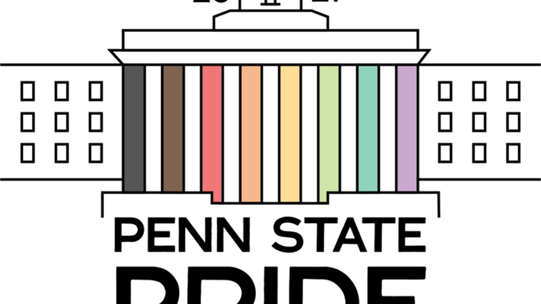 Campus Pride Month logo - Old Main with colors on columns