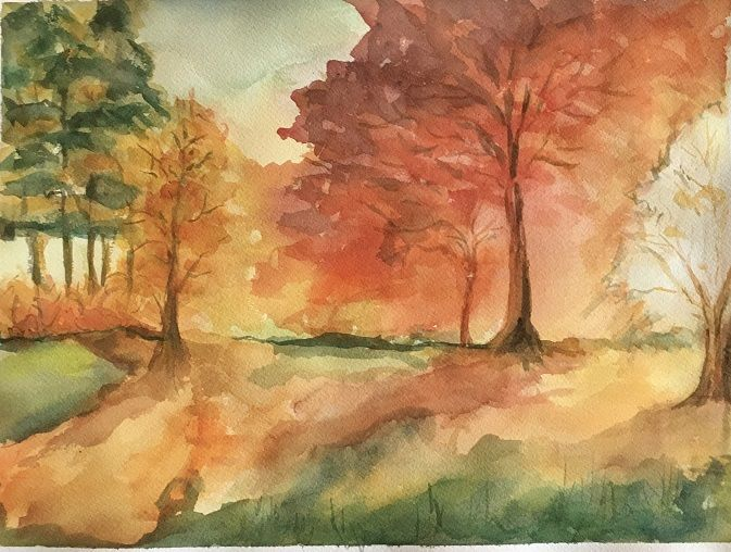 Watercolor painting of fall trees by Arlene Holtz