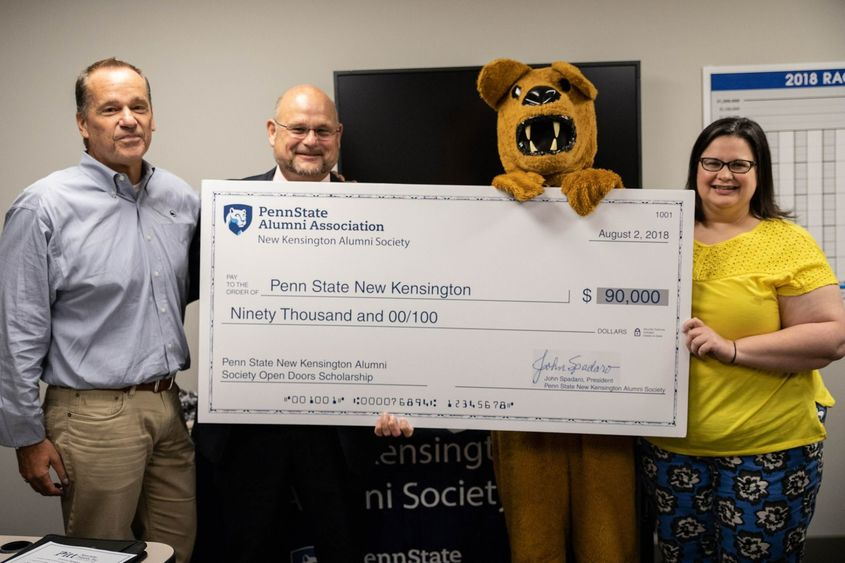 John Spadaro, Kevin Snider, Nittany Lion and Vera Spina Greenwald