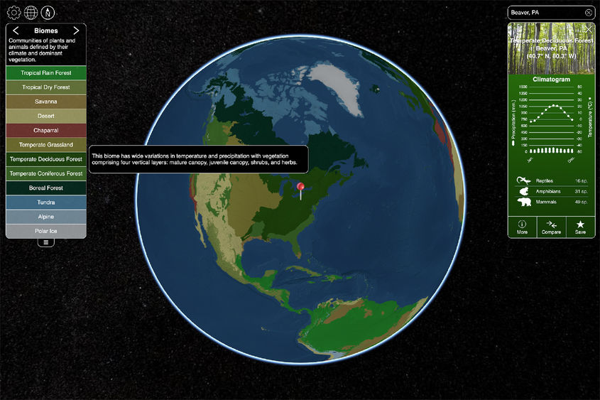 A screen shot of the biome viewer interactive map in use