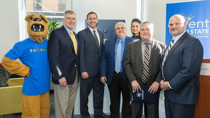 Penn State President Dr. Eric Barron is joined by Westmoreland County and New Kensington leadership for the opening of The Corner.